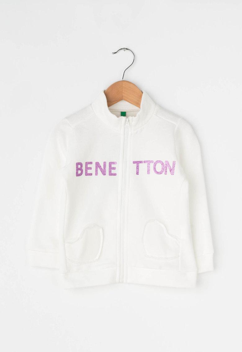 United Colors of Benetton Bluza sport cu fermoar si insertii stralucitoare