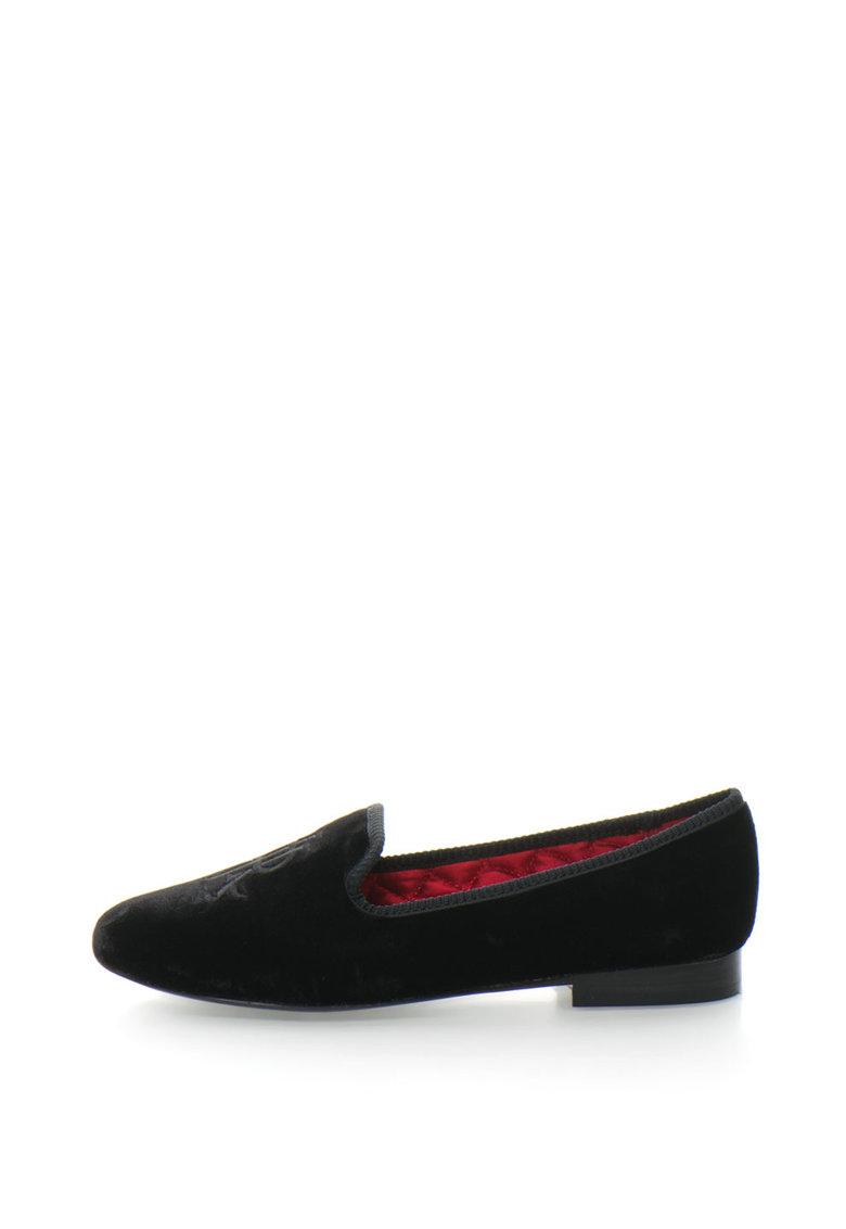 Pantofi loafer catifelati cu logo brodat Coleena