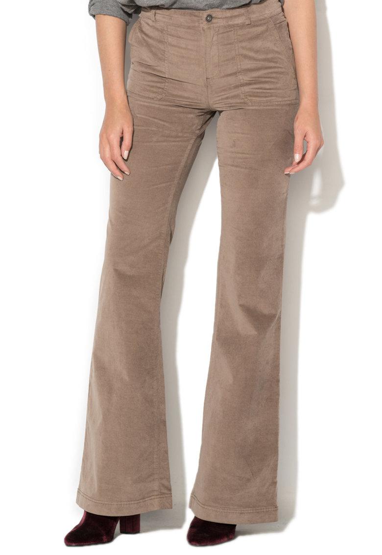 Pantaloni Evazati Din Material Reiat
