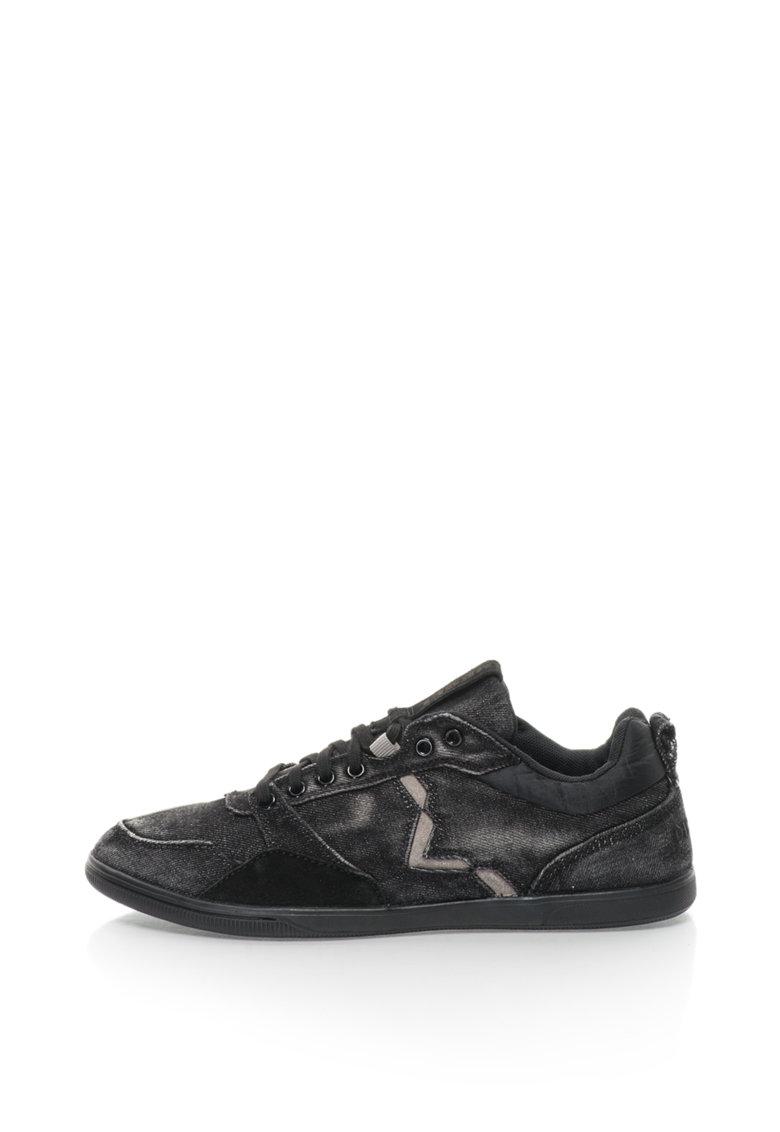 Pantofi sport cu garnituri de piele intoarsa si aspect de denim S-Tage