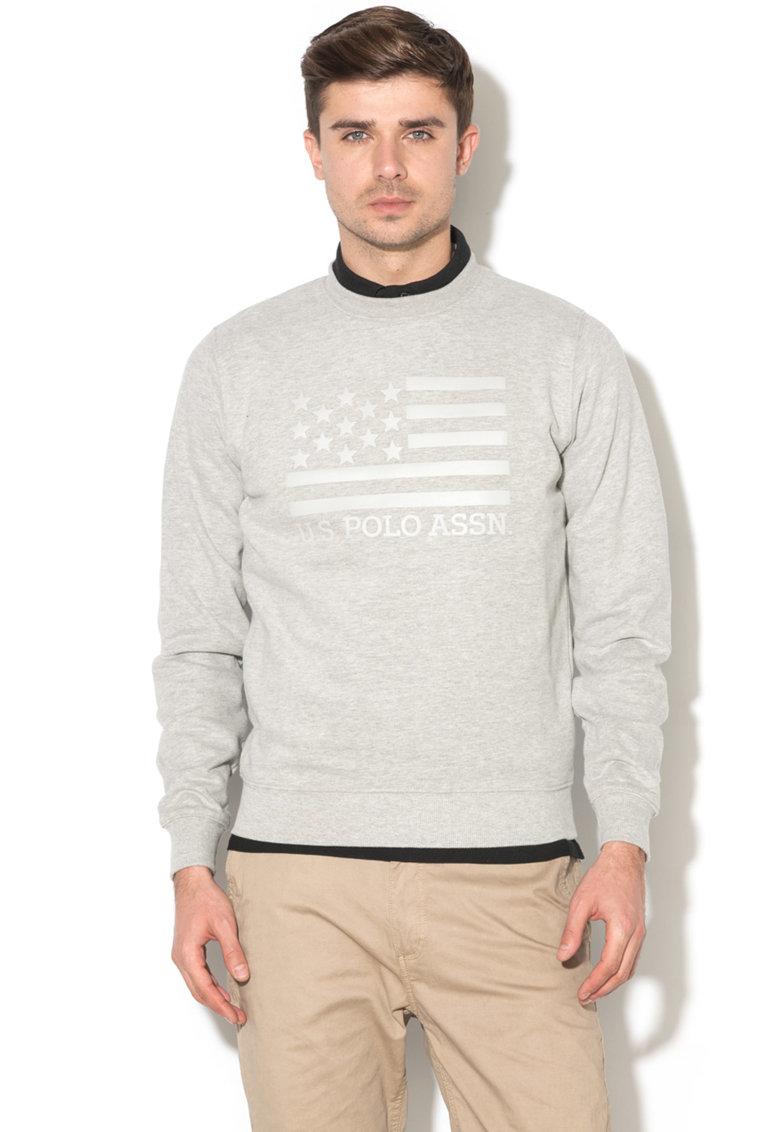 Bluza sport cu captuseala din fleece si aplicatii cauciucate de la US Polo Assn