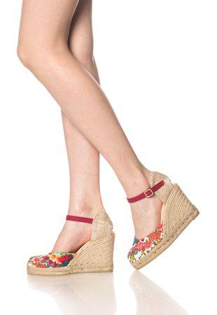 Sandale wedge cu imprimeu floral Verano