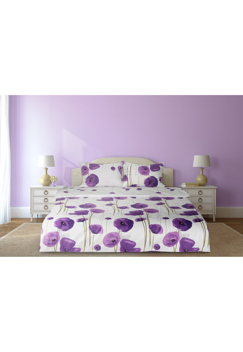 Set de pat cu imprimeu floral - 4 piese - Alb/Mov thumbnail