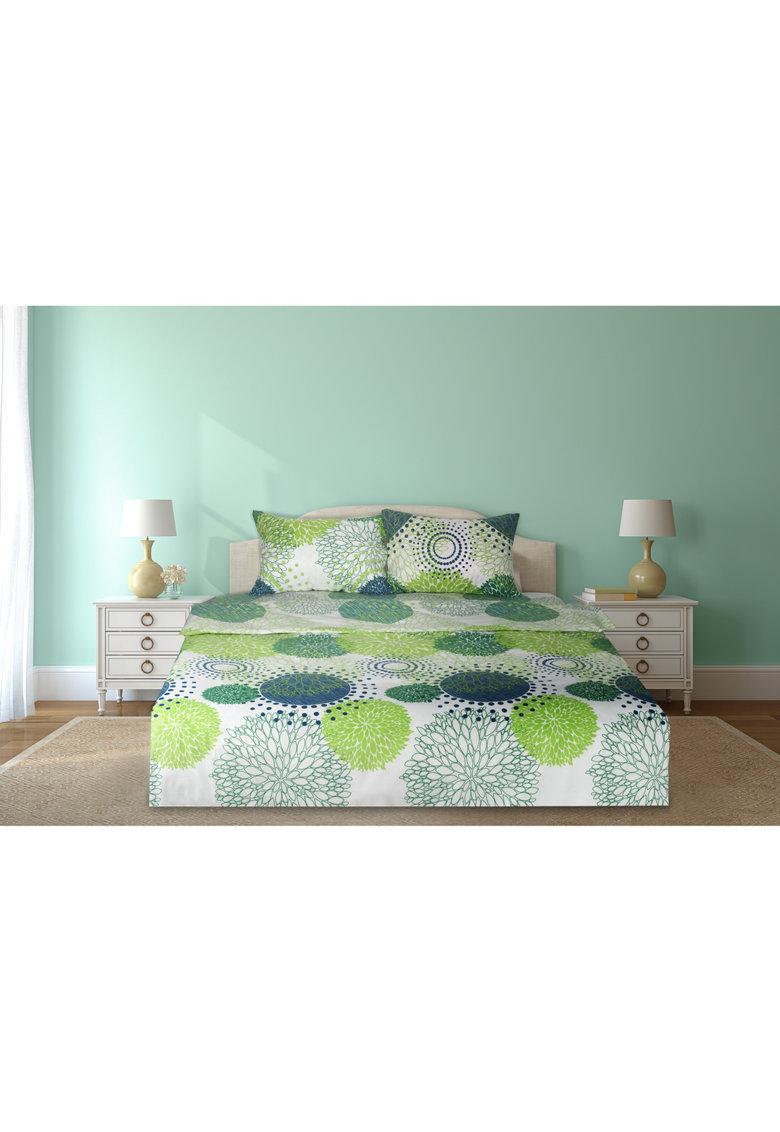 Set de pat cu imprimeuri diverse- 4 piese - Verde thumbnail