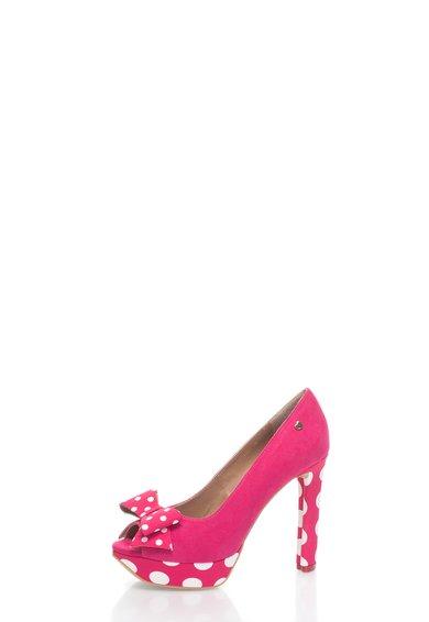 Love Moschino Pantofi peep-toe fucsia cu buline