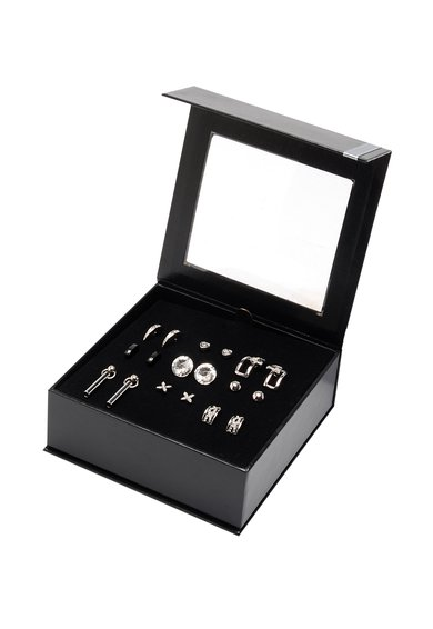 Pierre Cardin Set de cercei argintiu cu negru – 9 perechi