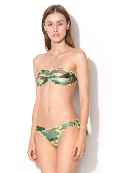 Sutien bandeau de baie cu model camuflaj