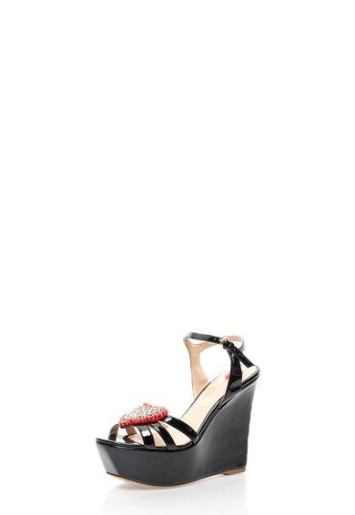 Sandale wedge negre lacuite de la Love Moschino