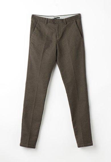 Sisley Pantaloni slim fit chino maro cu model houndstooth