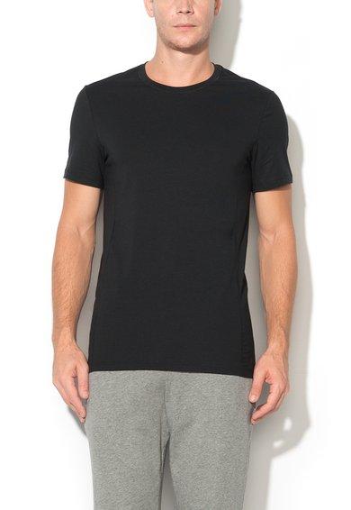 Tricou negru cu decolteu la baza gatului Per4mance Skiny