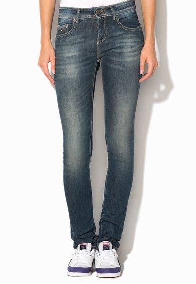 Jeansi skinny albastri decolorati