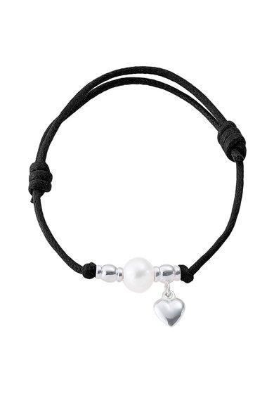 FashionDays.ro: Bratara ajustabila neagra cu perla si inima Perles Addict