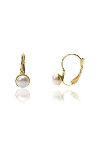 Perles Addict Cercei aurii cu perle albe