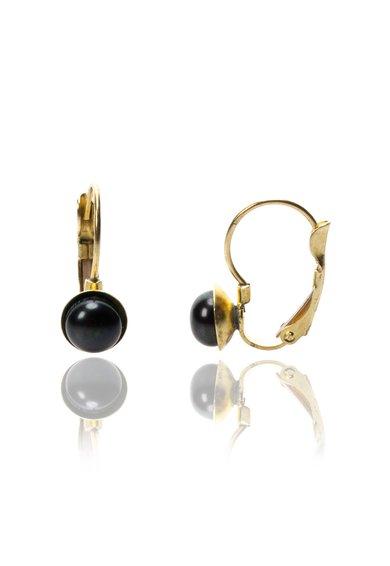 Cercei aurii cu perle negre