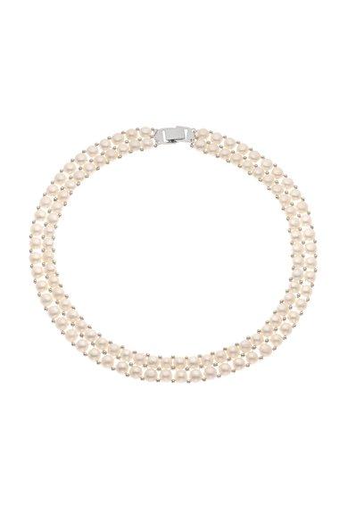 Perles Addict Colier alb din perle cu 2 siraguri