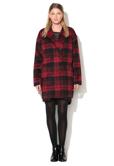 Palton rosu cu negru in carouri