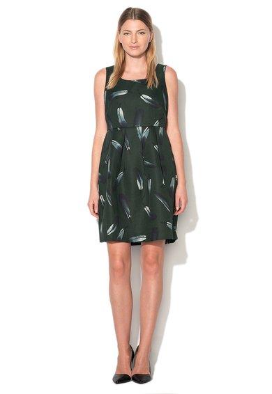 Rochie verde inchis cu imprimeu cu pene Gazali