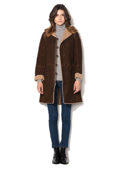 FashionDays.ro: Palton maro inchis din piele intoarsa cu gluga Timberland