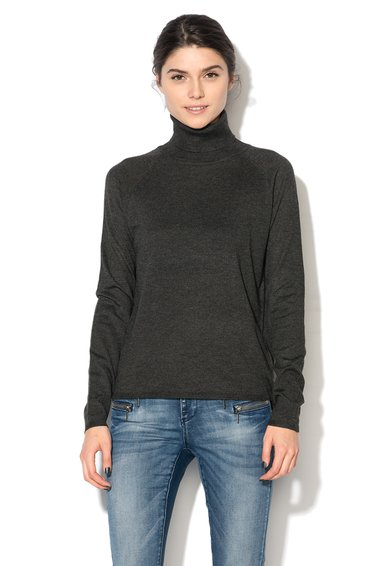 Bluza tricotata gri inchis cu guler inalt rasucit Passion de la Only