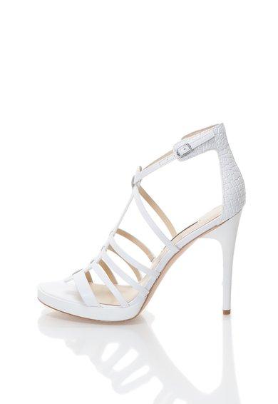 Calvin Klein Sandale albe din piele cu barete Gayle