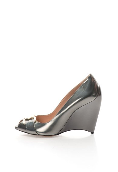 Pantofi wedge gri hematit din piele Meridienne Furla