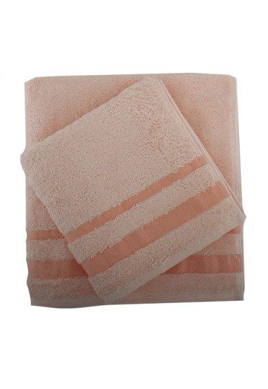 Set de prosoape roz somon din material terry Serit – 2 piese de la Leunelle