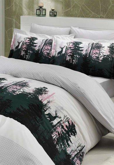 Set de pat multicolor cu imprimeu inspirat de natura de la Leunelle