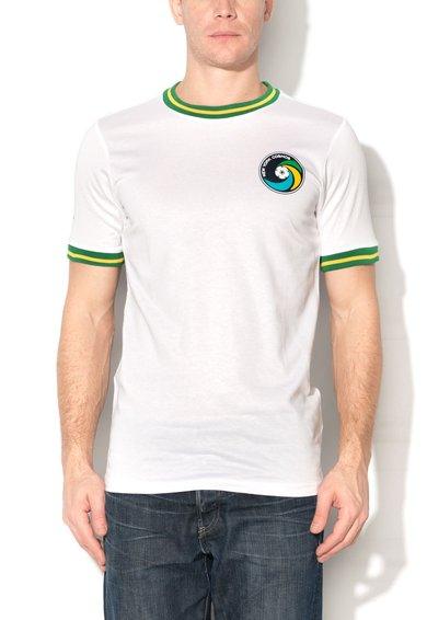 Umbro Tricou alb cu garnituri verde cu galben