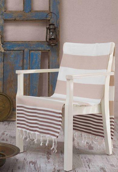Prosop Fouta in nuante de maro cu alb Antalya
