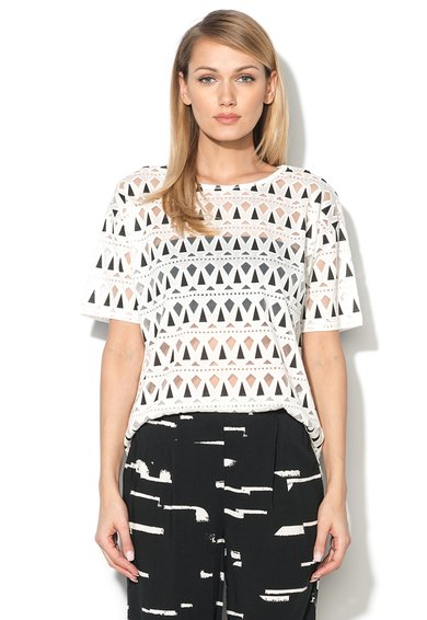 Bluza alba cu model geometric James de la ICHI