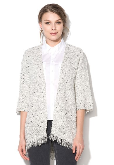 New Look Cardigan fara inchidere cu model sare si piper Twist&Fringe