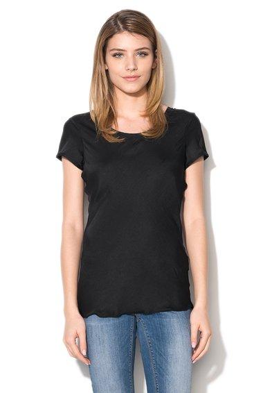Silvian Heach Denim Tricou negru cu decolteu amplu rotunjit