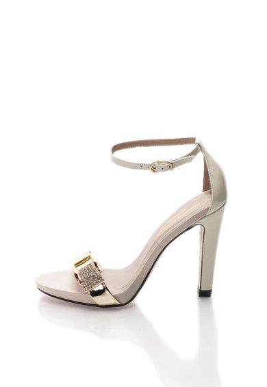 Sandale alb murdar cu auriu cu insertii din piele lacuita