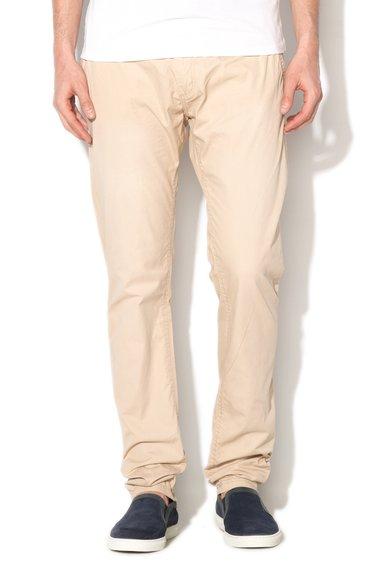 Pantaloni chino slim fit bej cu curea Jimmy de la Alcott