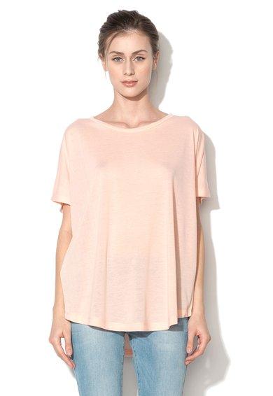 Silvian Heach Collection Tricou roz piersica deschis cu croiala lejera Lirri