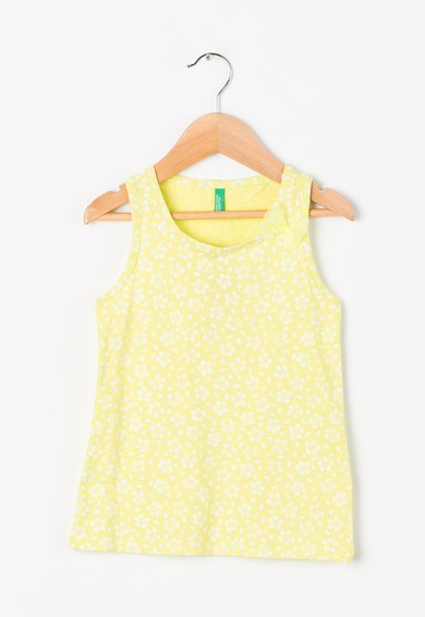 FashionDays.ro: Top verde chartreuse cu imprimeu floral United Colors Of Benetton