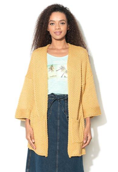 Cardigan tricotat galben asfintit de la United Colors Of Benetton