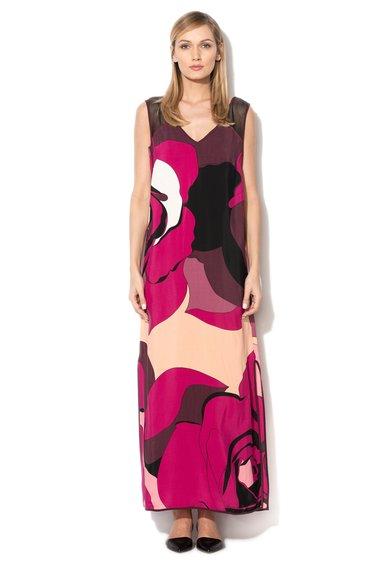 Rochie maxi multicolora cu insertii din plasa