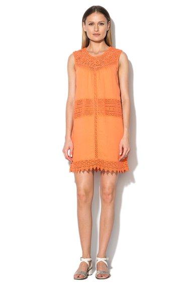 Pepe Jeans London Rochie oranj mandarina cu garnituri crosetate Samy