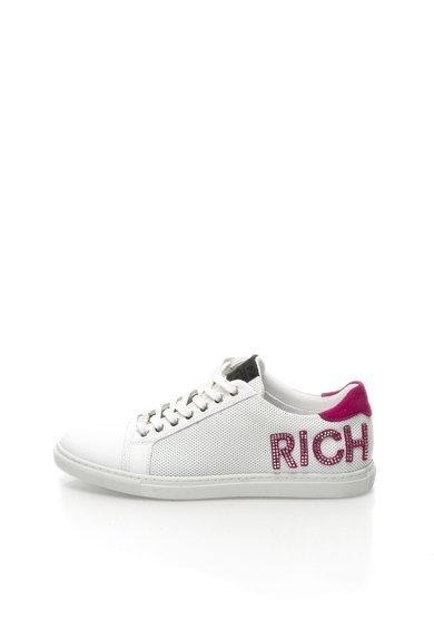 Richmond Tenisi alb murdar de piele cu logo roz