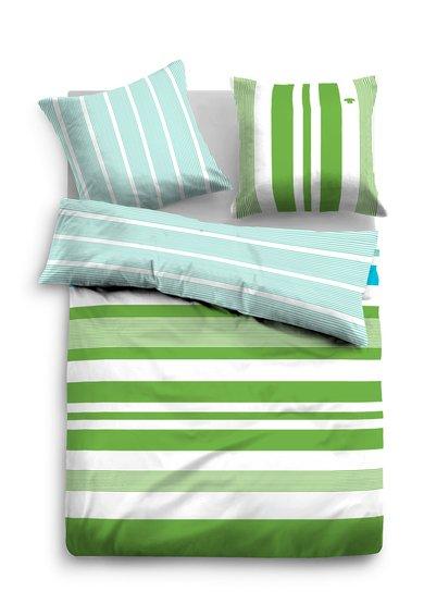 Tom Tailor Home Set de pat verde cu bleu in dungi