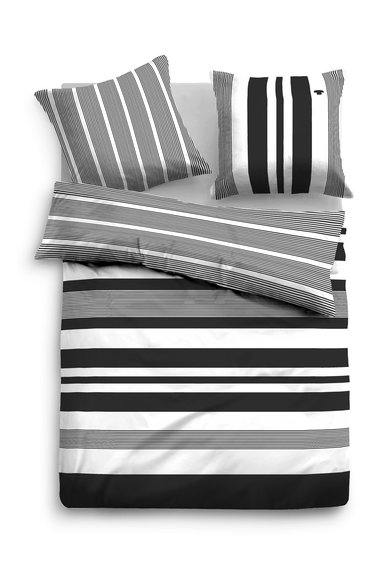 Tom Tailor Set de pat negru cu alb in dungi