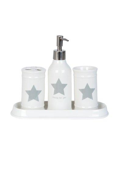 Set alb pentru baie cu imprimeu cu stea