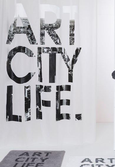Sorema Perdea pentru dus alba cu imprimeu Art City