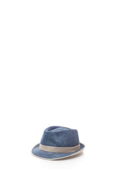 Palarie albastru cu gri din in