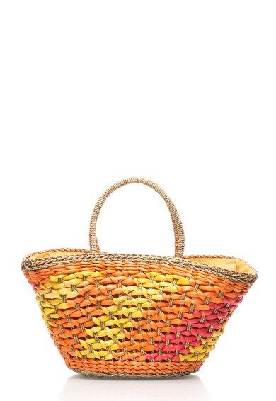 Geanta de plaja multicolora tesuta de la Bojua