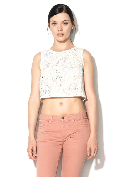 Top crop multicolor din dantela