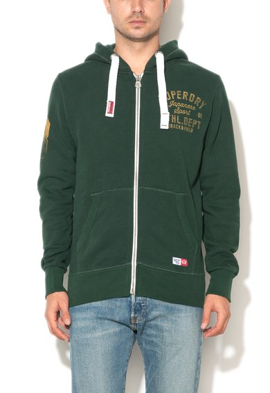 FashionDays.ro: Bluza sport verde inchis cu fermoar Trackster Vintage Superdry