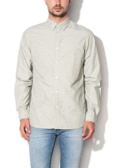 Selected Homme Camasa slim fit alb cu gri cu mode discret in dungi