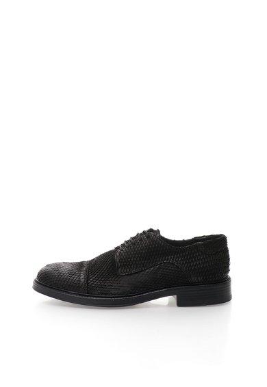 Pantofi derby negri de piele nabuc de la Zee Lane Collection